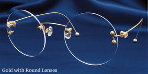 Signature Rimless Gold Eyeglass Frames Round Lenses Three Quarter View