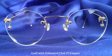 Front view of Signature Rimless gold eyeglasses with P3 lenses