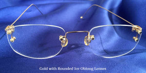 Front view of Signature Rimless gold eyeglasses with oblong lenses