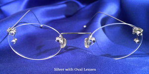 Signature Rimless Silver Eyeglass Frames with Oval Lenses Front View