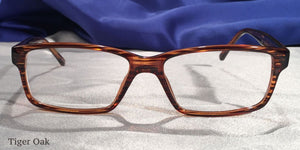 Front view of Tiger Oaks wood stripe grain eyeglasses