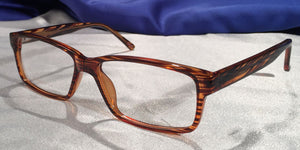 Corner view of Tiger Oaks wood stripe grain eyeglasses