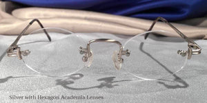 Front view of Traditionals Rimless silver metal eyeglasses with hexagon lenses