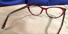 Back view of Vampires cat-eye ruby red eyeglasses