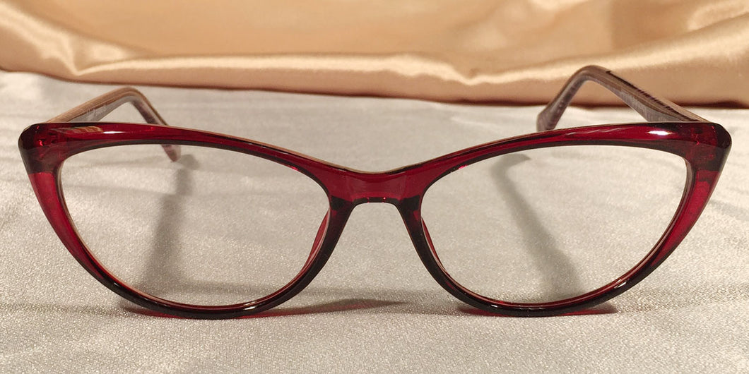 Front view of Vampires cat-eye ruby red eyeglasses