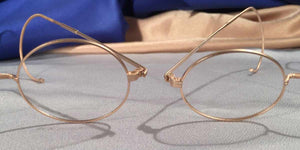 Detail view of Windsors gold matte eyeglasses