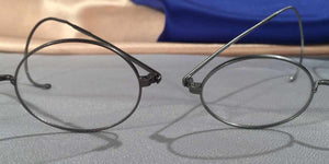Detail view of Windsors pewter metal eyeglasses
