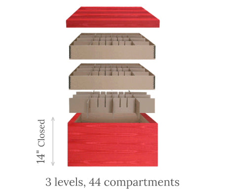 Ultimate European Ornament Chest<br><span>3 levels, 44 compartments</span> scheme