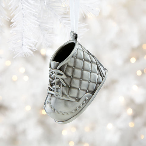 Baby's first christmas ornament silver