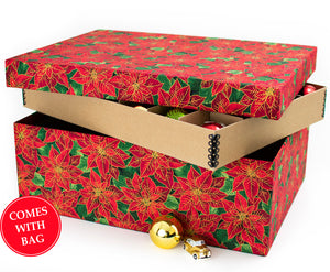 decorated ornament storage boxes in red moire and st Nicholas fabrics