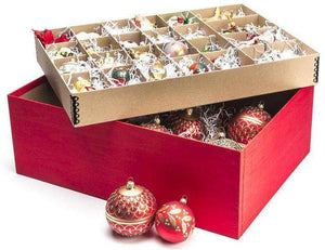 Christmas Ornament Storage - Ultimate Ornament Box - Red Moire Stripe
