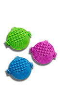 Palmat makeup brush cleaning pad in green, purple and blue