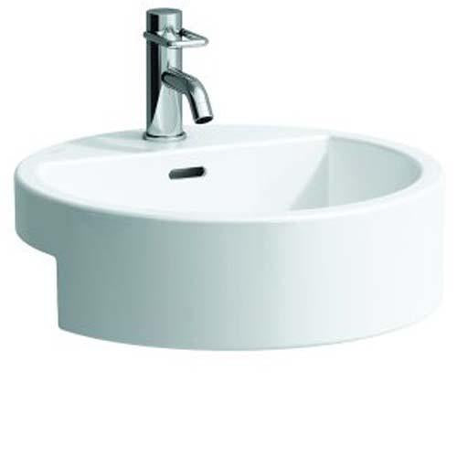 Laufen Living City Round Semi Recessed Basin One tap hole - White