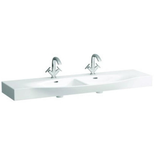 Laufen Palace Double Countertop Basin One tap hole - White