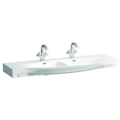 Laufen Palace Double Countertop Basin with Towel Rail One tap hole - White