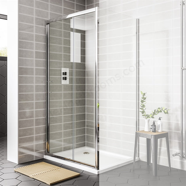 Essential Spring Sliding Shower Door - Clear Glass