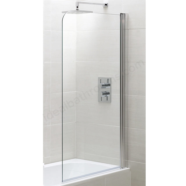 Essential Spring Half Radius Bath Screen - 800mm Wide - Clear Glass