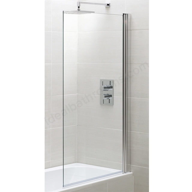 Essential Spring Square Bath Screen - 800mm Wide - Clear Glass