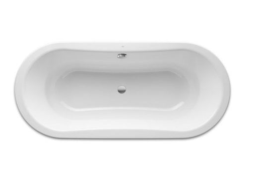 Roca Duo Oval Freestanding Rectangular Steel Bath - 0 Tap Hole - White