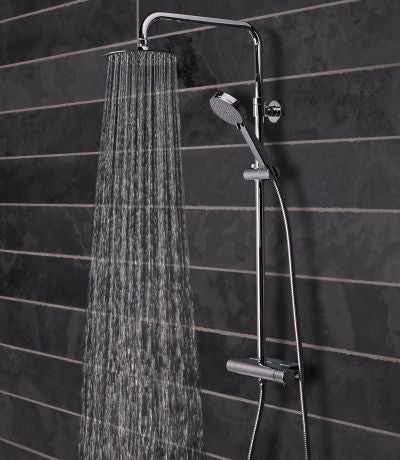 Tavistock Quantum Exposed Thermostatic Bar Shower with Accessory Shelf Fixed Head and Handset