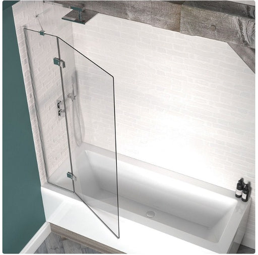 Kudos 2 Panel Outward Swinging Bath Screen 1500 x 950mm - Silver