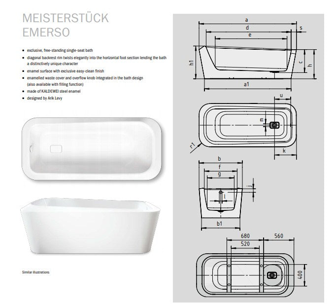 Kaldewei Meisterstuck Emerso Freestanding Baths