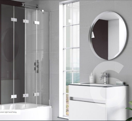 Kudos Compact 4 Panel 1500h x 950mm Bath Screen - 6mm