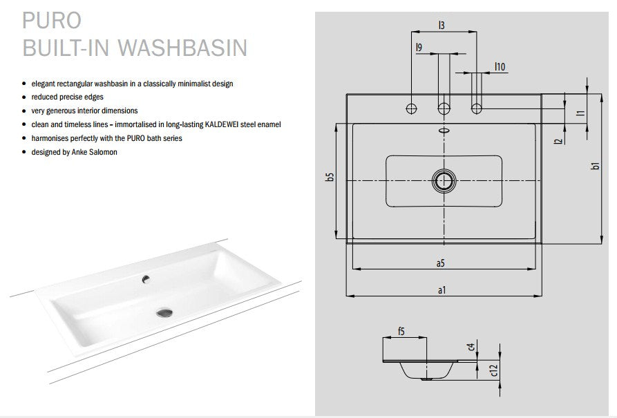 Kaldewei Ambiente Puro Built-In Basin - One tap hole