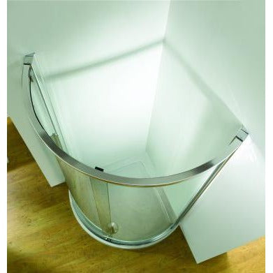 Kudos Original 1000mm Curved Sliding Enclosure Side access - 1000 x 1000mm - Silver Frame