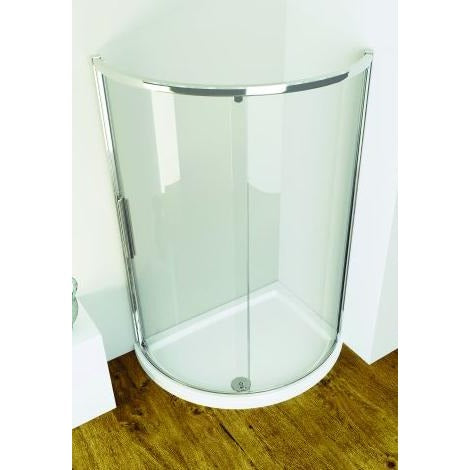 Kudos Original 1200mm Offset Curved Sliding Enclosure Side Access - 1200 x 910mm - Silver Frame