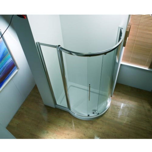 Kudos Original 1270mm Offset Curved Sliding Enclosure 1270 x 910mm - Silver Frame