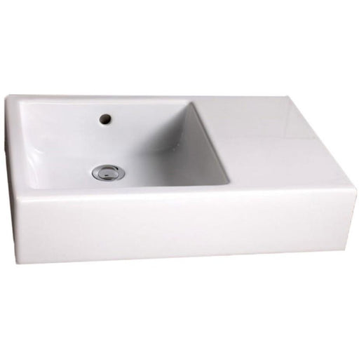 Vitra Commercial Basin 59.5 x 30cm. No tap hole with integrated right hand shelf