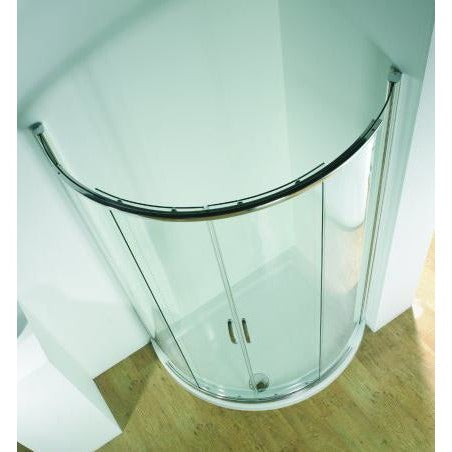 Kudos Infinite Semi-Frameless Offset Curved Sliding Enclosure 1200 x 910mm - Silver Frame