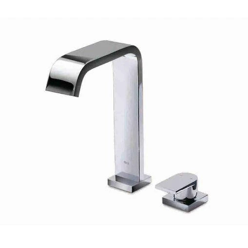 Roca Flat Deck-Mounted 2 Hole High Basin Mixer with pop-up waste