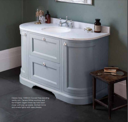 Burlington 134cm Curved Vanity Unit with Drawers, Doors and Worktop