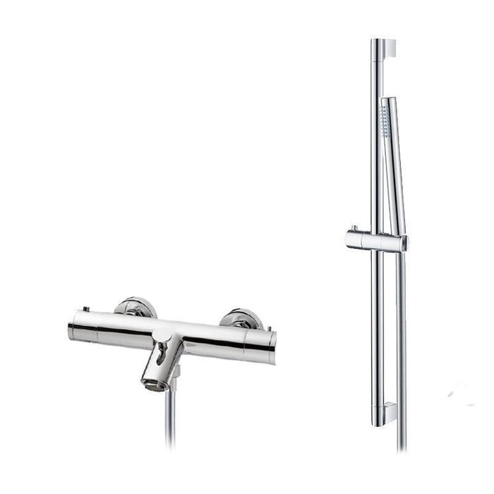 Abacus Essentials Thermostatic Bath Shower Mixer Tap With Slimline Handset And Slide Rail-Chrome