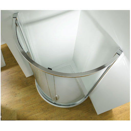 Kudos Original 1200mm Offset Curved Side Access Sliding Enclosure - Silver Frame