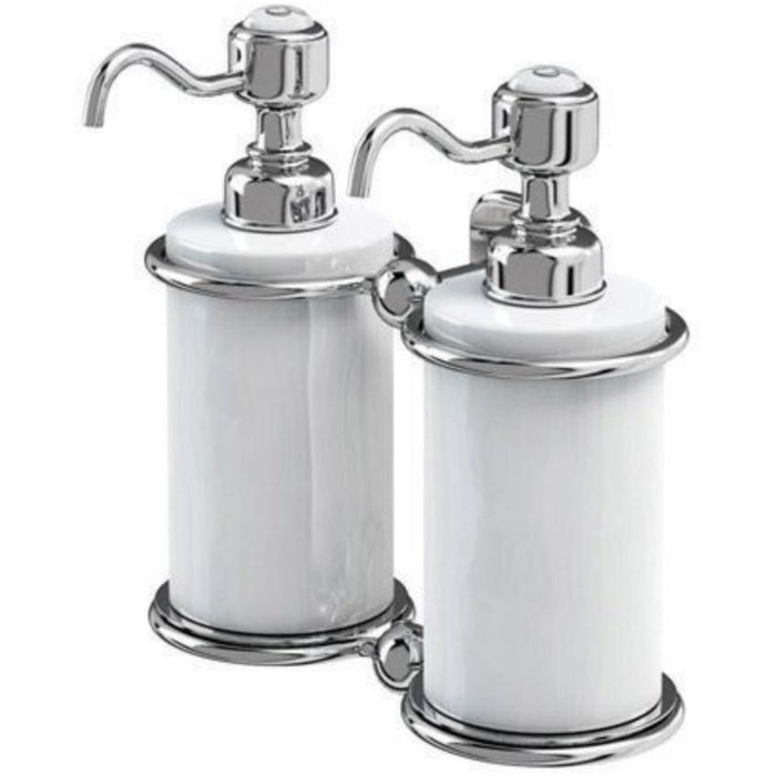 Burlington Double Liquid Soap Dispenser - Chrome/White
