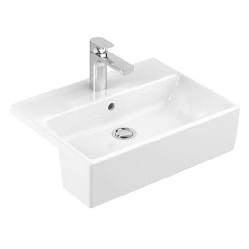 Abacus Pure Semi Recessed Basin-550mm Wide-1 Tap Hole-White