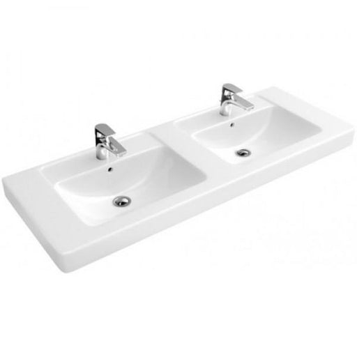 Abacus Simple Vanity Unit Double Basin-1300mm Wide-2 Tap Hole-White