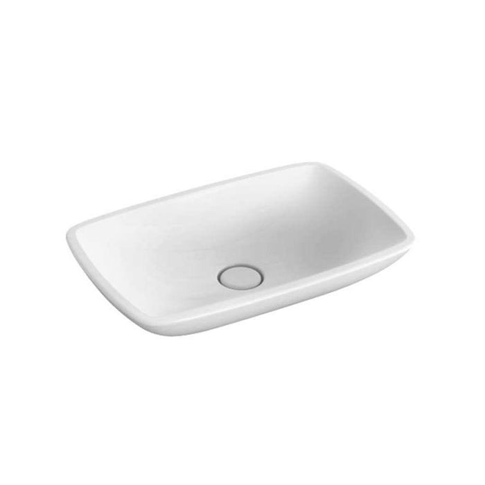 Abacus Hands And Faces Allure Sit-On Countertop Basin-600mm Wide-No Tap Hole-White
