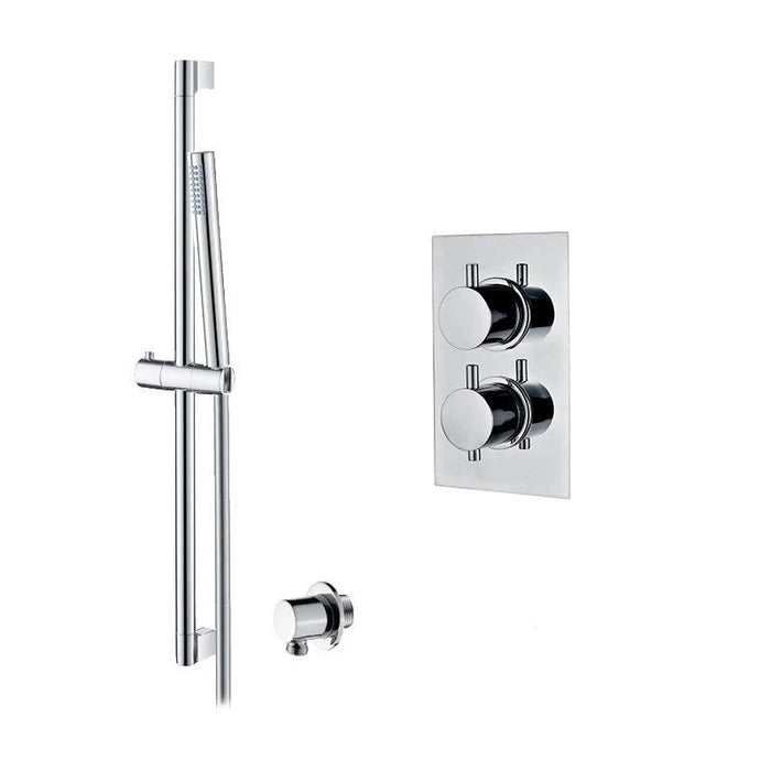 Abacus Essentials Thermostatic Concealed Slimline Shower Head With Shower Kit-Chrome
