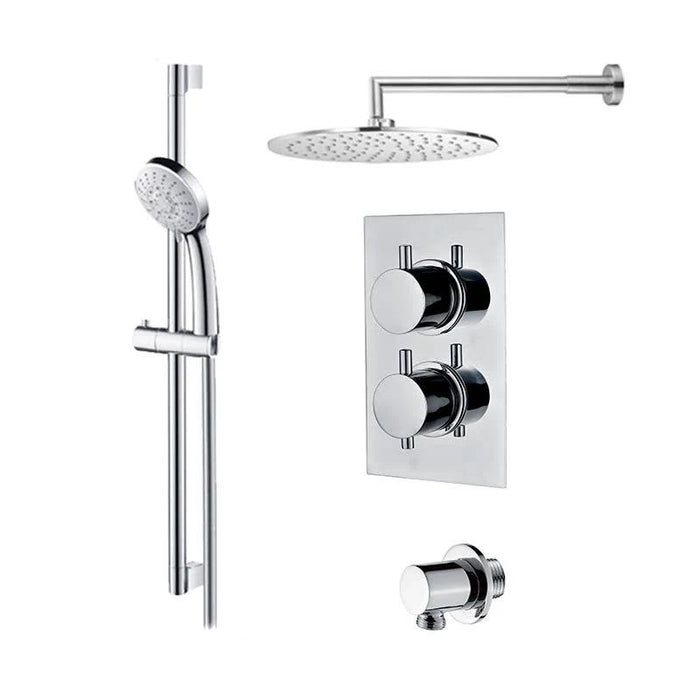 Abacus Essentials Thermostatic Concealed Shower Kit With Round Shower Head-Chrome
