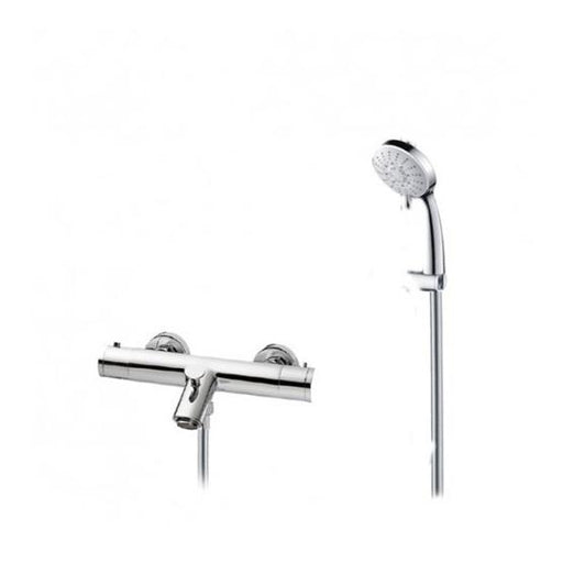 Abacus Essentials Exposed Bath Shower Mixer Tap With Round Handset-Chrome