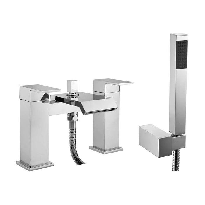 Abacus Bloc Deck Mounted Bath Shower Mixer Tap-Chrome