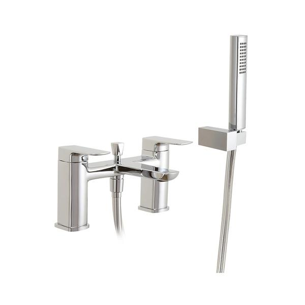 Abacus Logic Deck Mounted Bath Shower Mixer Tap-Chrome