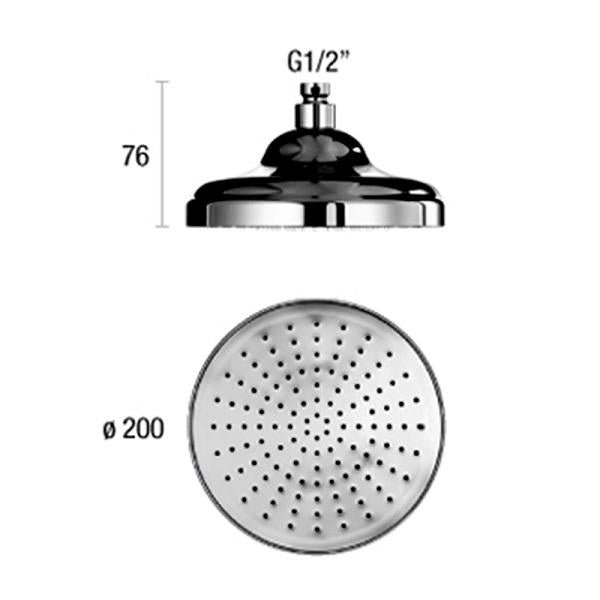 Abacus Temptation Retro Shower Head-200mm Wide-Chrome