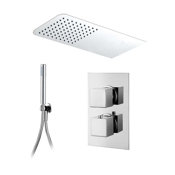 Abacus Emotion Thermostatic Square Concealed Shower Mixer with Rectangular Head and Slimline Handset-Chrome
