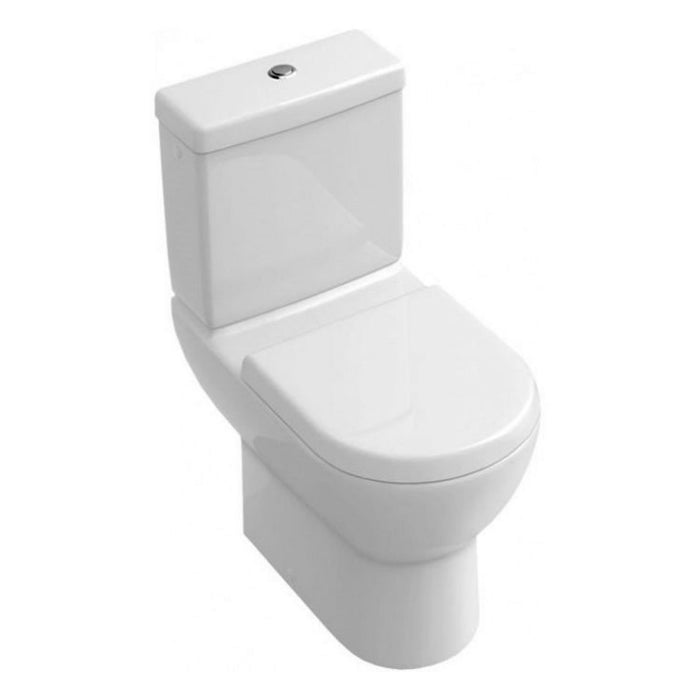 Abacus Simple Open Black Close Coupled Toilet With Push Button Cistern-Soft Close Seat And cover-White