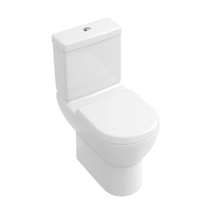 Abacus Simple Close Coupled Toilet With Push Button Cistern-Soft Close Seat And cover-White